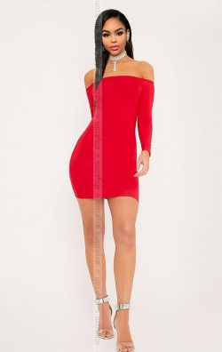 Kırmızı Uzun Kol Straplez Mini Elbise