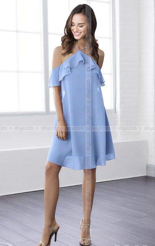 Bebe Mavi Şifon Abiye Elbise
