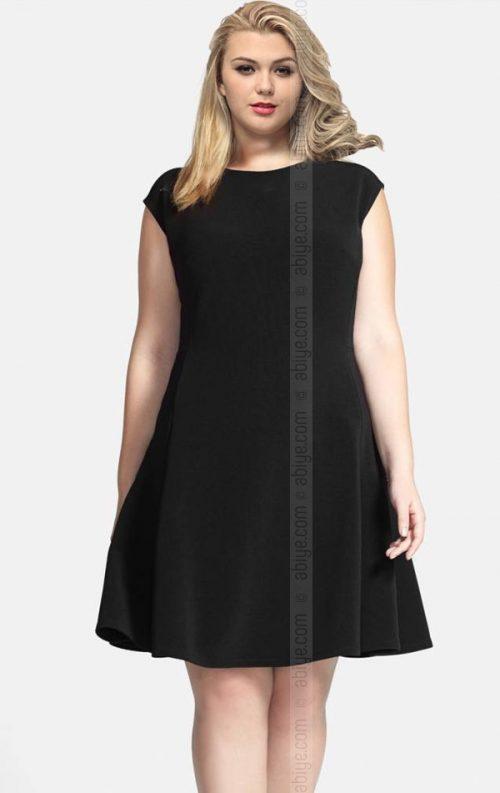 Büyük Beden Siyah Kloş Elbise