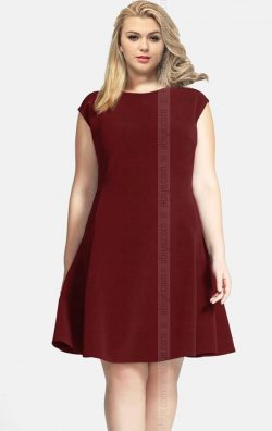 Büyük Beden Bordo Kloş Elbise