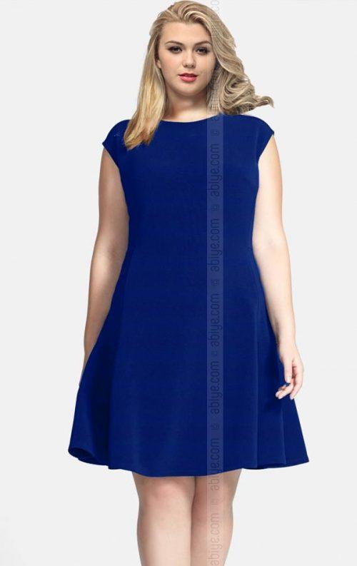 Büyük Beden Saks Mavi Kloş Elbise