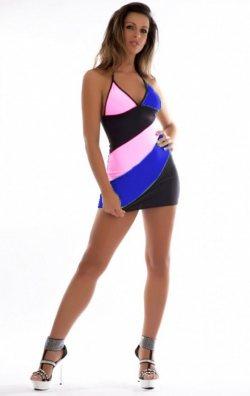 Asimetrik Renkli Askılı Mini Elbise