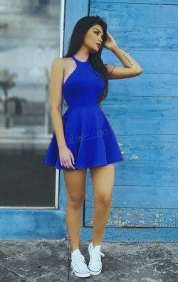 489dff8b16714 Saks Mavi Süper Mini Elbise