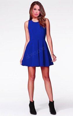 Saks Mavi Kolsuz Kloş Mini Elbise