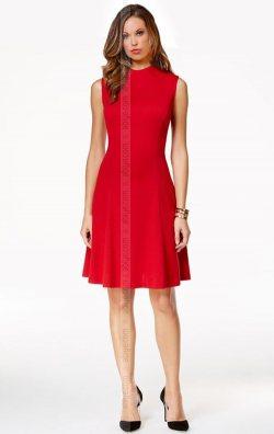 Kırmızı Kolsuz Midi Elbise