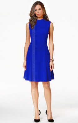Saks Mavi Kolsuz Midi Elbise