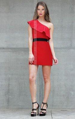 Kemer Detay Kırmızı Volanlı Elbise