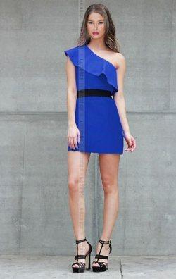 Kemer Detay Saks Volanlı Elbise