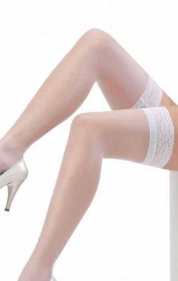 Dantelli silikonlu beyaz jartiyer çorabı