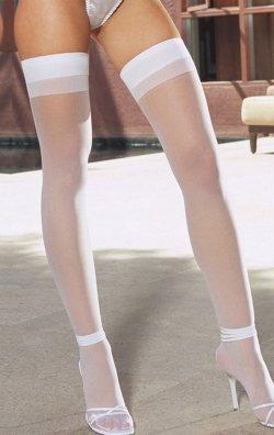 Düz beyaz jartiyer çorabı