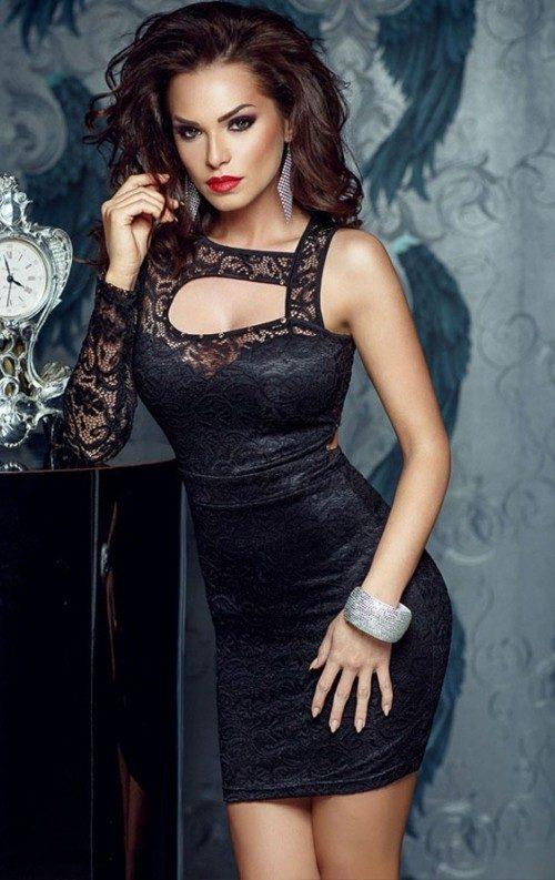Dantelli Siyah Gece Elbisesi