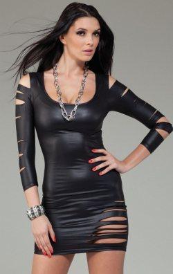 Yırtık Model Lame Deri Elbise