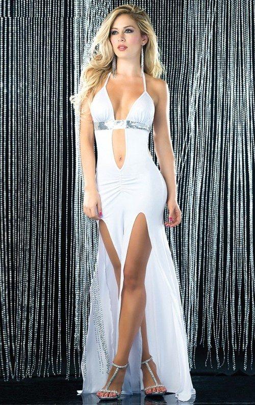 Beyaz Çift Yırtmaçlı Uzun Elbise