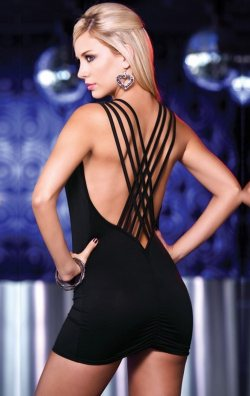 Siyah Sırt Dekolteli Seksi Club Elbise