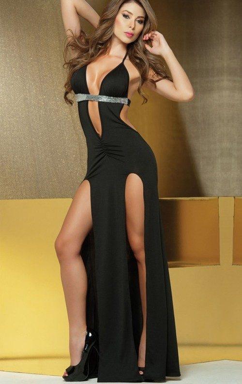 Siyah Çift Yırtmaçlı Uzun Elbise