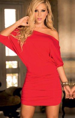 Düşük Omuz Kırmızı Club Elbise
