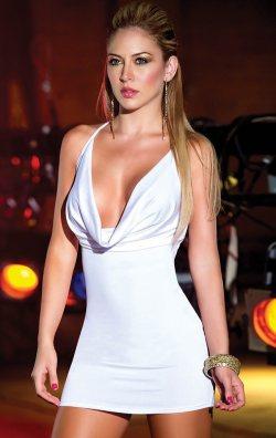 Sırt Dekolteli Beyaz Club Elbise