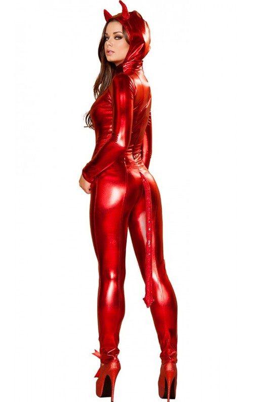 Kırmızı Deri Şeytan Kostümü