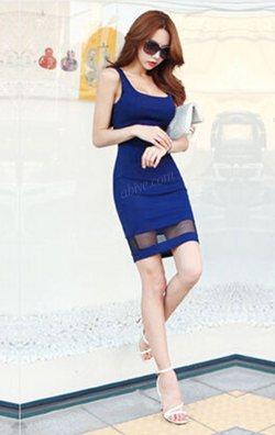 Askılı Saks Japon Style Elbise