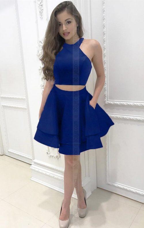 Kat kat etekli iki parça saks mavi elbise