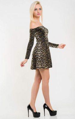 Leopar Uzun Kol Mini Club Elbise
