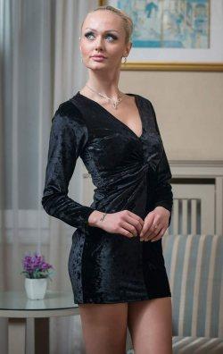 Siyah Uzun Kol Kadife Mini Elbise