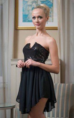 Payetli Kumaş Şifon Etek Detay Mini Elbise