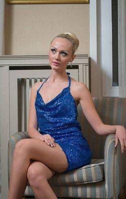 Mavi Payetli Mini Elbise