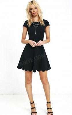 Kısa Kollu Papatya Model Mini Elbise