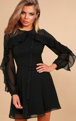 Volan Detay Şifon Abiye Elbise