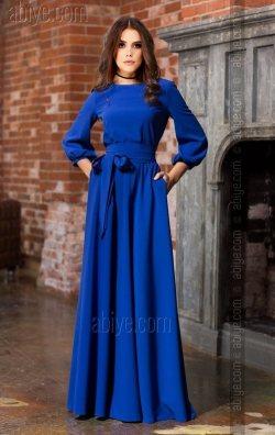 Saks Mavi Bol Kesim Nişan Kıyafeti