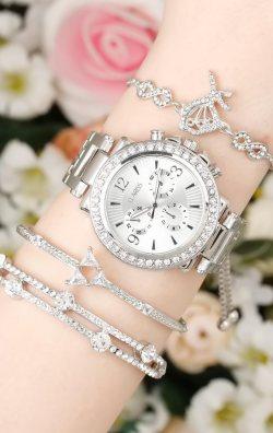 Gümüş Renk Kadın Saat Kombini