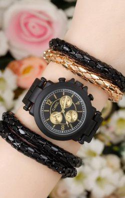 Siyah Tasarım Bileklik & Bayan Saat Kombini