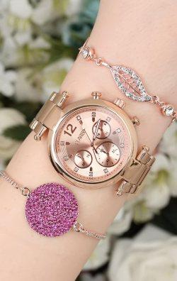 Bronz Renk Kadın Saat & Bileklik  Kombini