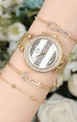 Dore Renk Taşlı Kadın Saat & Bileklik  Kombini