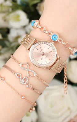 Bronz Renkli Kadın Saat & Bileklik  Kombini
