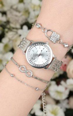 Gümüş Renk Kadın Saat & Bileklik  Kombini