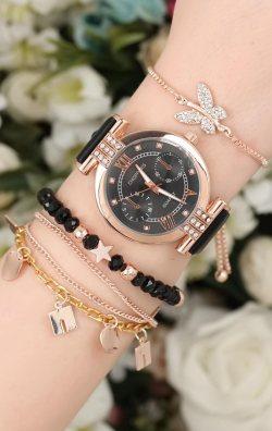 Deri Kordonlu Kadın Saat & Bileklik Kombini
