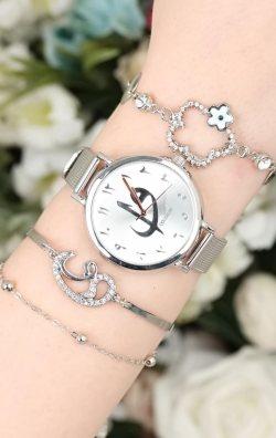 Vav Figürlü Kadın Saat & Bileklik Kombini