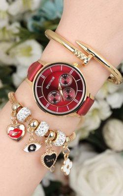 Bordo Kadın Saat & Bileklik Kombini