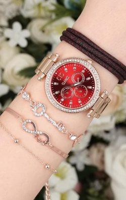 Özel Taşlı Kadın Saat & Bileklik Kombini