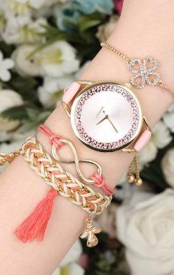 Pembe Kadın Saat & Bileklik Kombini