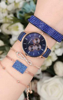 Mavi Deri Kordonlu Kadın Saat & Bileklik Kombini