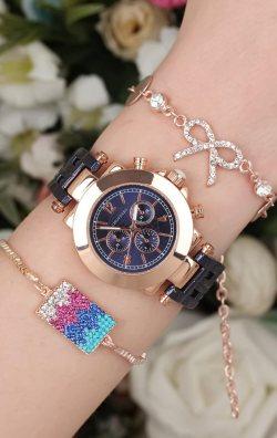 Lacivert Metal Kordonlu Kadın Saat & Bileklik Kombini