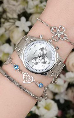 Gümüş Renk Metal Kadın Saat & Bileklik Kombini