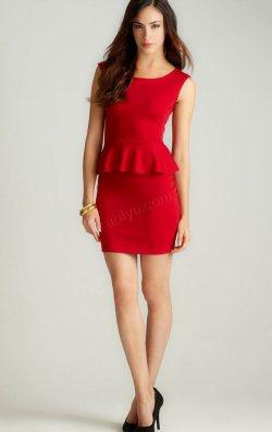 Beli Volanlı Kırmızı Mini Elbise