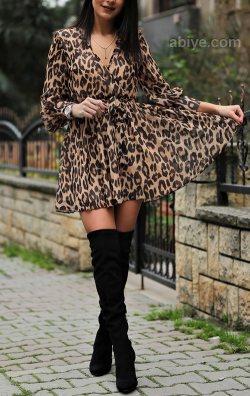 Leopar Desen Şifon Elbise