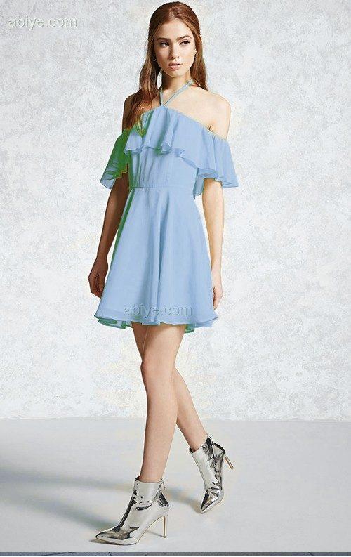 Bebek Mavisi Volanlı Şifon Elbise