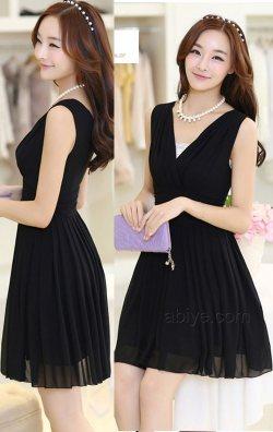 Siyah Japon Style Şifon Elbise