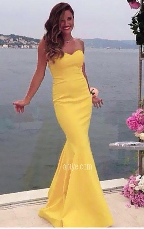 Sarı Straplez Balık Abiye